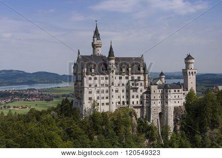 Neuschwanstein castle under mild soft sunlight