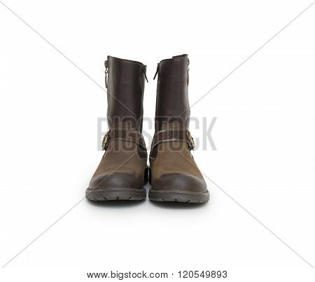 Leather boots on a white background, stylish boots