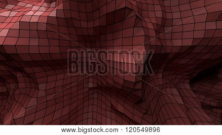 3d abstract red plastic plexus background