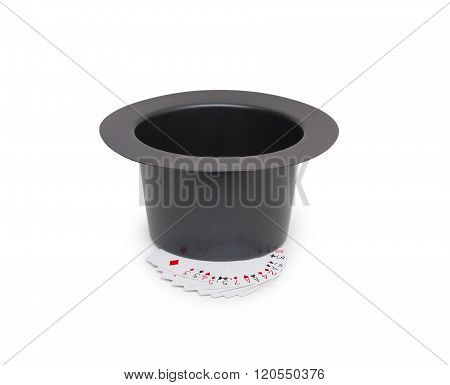 Black Magic Hat And Playing Cards Isolated On A White Background