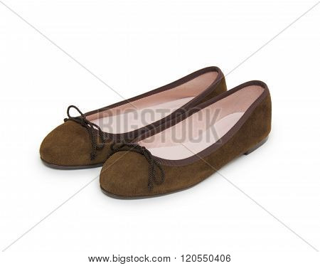 Pair Of Female Summer Shoe On White Background