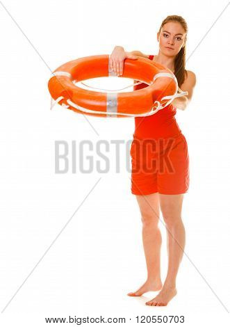 Lifeguard On Duty With Ring Buoy Lifebuoy.