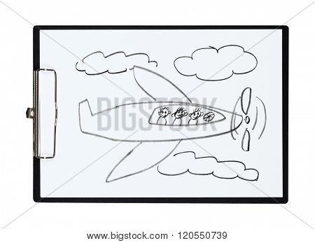 Clipboard and paper sheet with pencil drawing airplane and children, isolated object