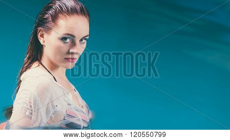 Mysterious Seductive Woman In Water.