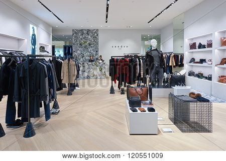 SINGAPORE - NOVEMBER 08, 2015: interior of sandro store in The Shoppes at Marina Bay Sands. The Shoppes at Marina Bay Sands is one of Singapore's largest luxury shopping malls
