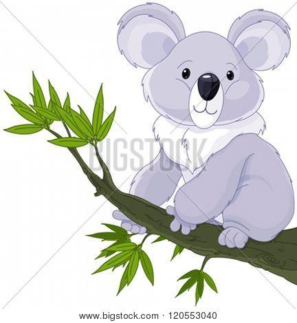 Illustration of cute koala on a tree