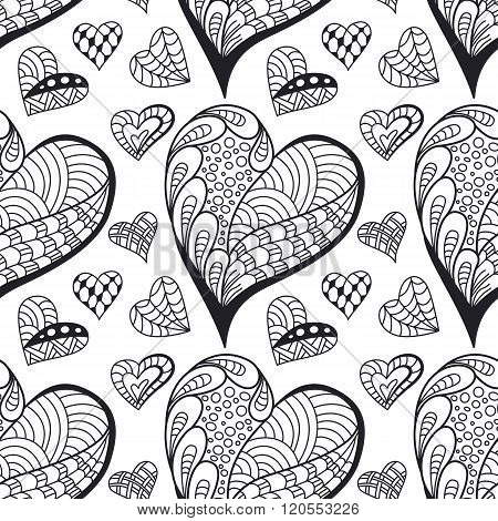 Seamless Contour  Pattern With Doodle Hearts. Wallpaper, Textile, Backdrop, Cover, Wrapper.