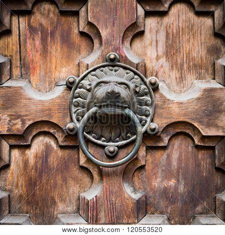 Antique Door Knocker Shaped Lion's Head.
