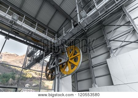 Detail Of The Mechanisms That Allow The Operation Of A Cableway.