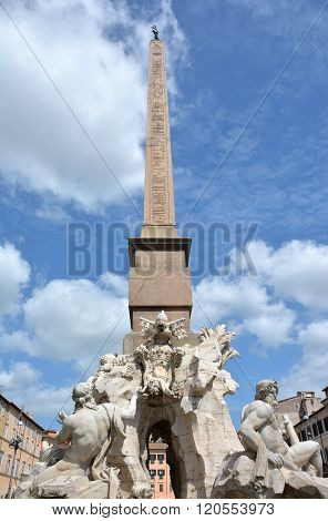 Fountain Of Four Rivers With Ancient Egyptian Obelisk In Rome