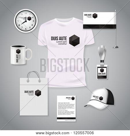 Corporate identity business photorealistic design template. Classic white stationery template design