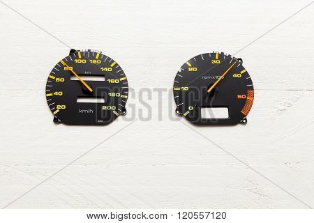 Internet speedometer on white background