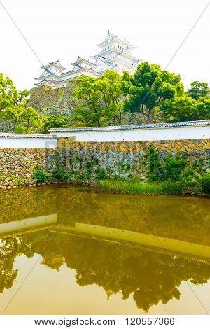 Himeji Jo Castle Sangoku Moat Ramparts Reflection