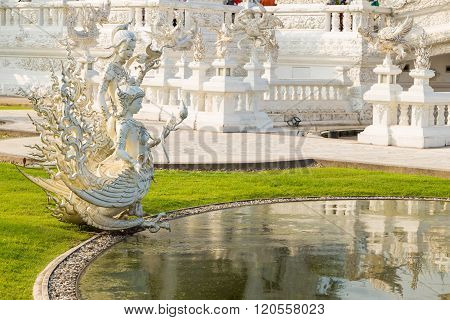 Beautiful White Church Of Wat Rong Khun Temple In Chiangrai,temple Of White