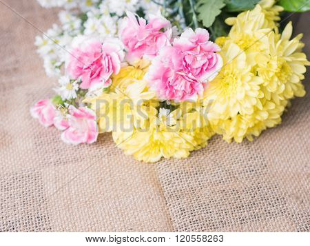 Table of flower decoration arrangement hand craft.