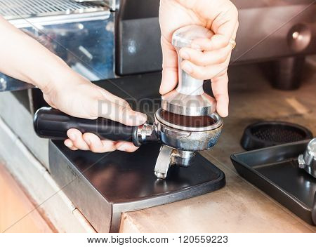 Barista With Tamper For Making Espresso With Vintage Style