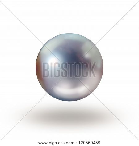 Tahitian light grey single pearl isolated on white background