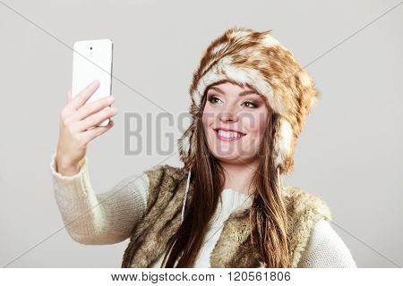 Woman Taking Selfie Photo