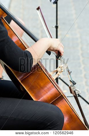 Street Musician Playing On Violoncello
