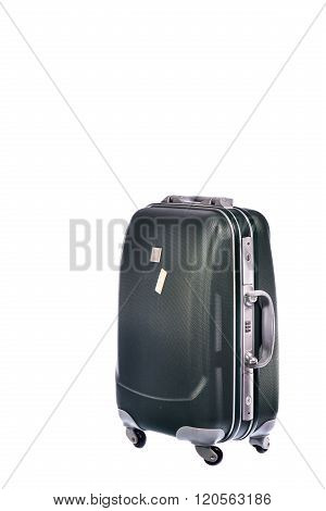 Gray Polycarbonate Suitcase On White Background