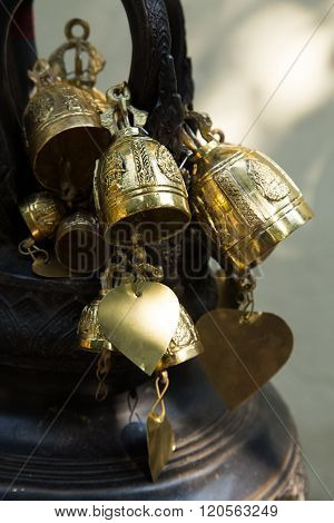 golden bells in buddhist temple,Belief and faith of the Buddhists.
