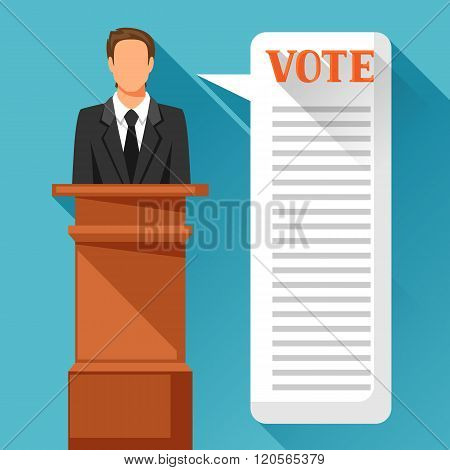 Candidate of party involved in debate. Political elections illustration for banners, web sites, bann