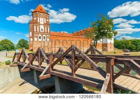 Mir Brick Medieval Castle And Wooden Bridge