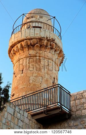 Tower at the historical Dormition Abbey on Mount Zion, Jerusalem, Israel
