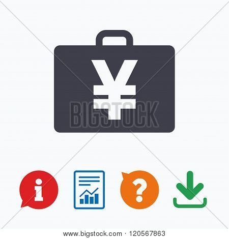 Case with Yen JPY sign. Briefcase button.