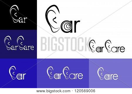 illustration of the Ear Care logo emblem otolaryngology.