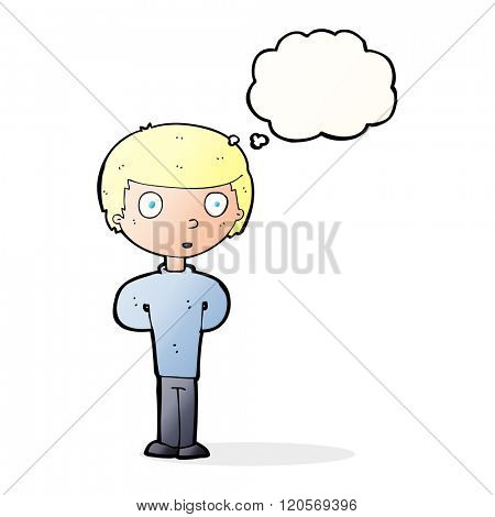 cartoon curious boy with thought bubble