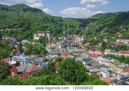 Banska Stiavnica Panorama. Historical Medieval Mining Town In Slovakia, With Castle And Cathedral. U