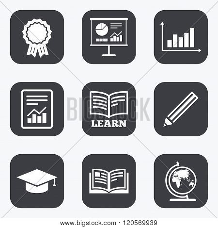 Education and study icon. Presentation signs.