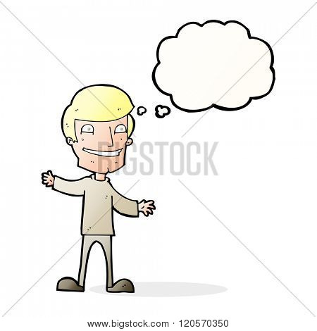 cartoon grinning man with thought bubble