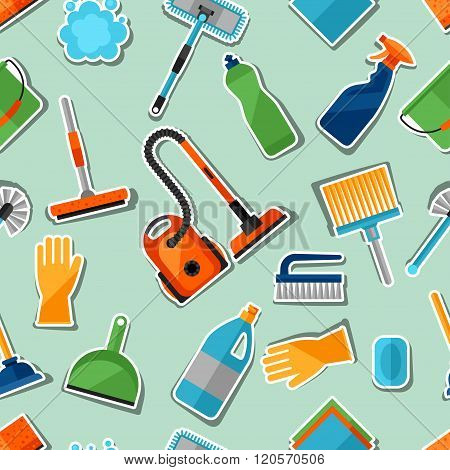 Housekeeping lifestyle seamless pattern with cleaning sticker icons. Background for backdrop to site