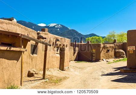 Taos, U.S.A. - May 22, 2011: The ancient houses of the restored native pueblo.