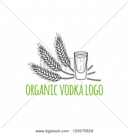 Modern Line Style Logo, Branding,  Logotype,  Badge  With Spikes Of Wheat And A Glass Of Vodka.  Dis
