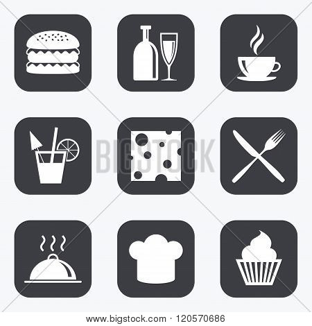 Food, drink icons. Coffee and hamburger signs.