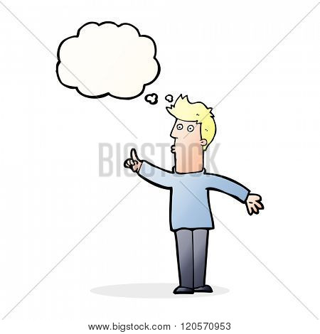 cartoon man advising caution with thought bubble