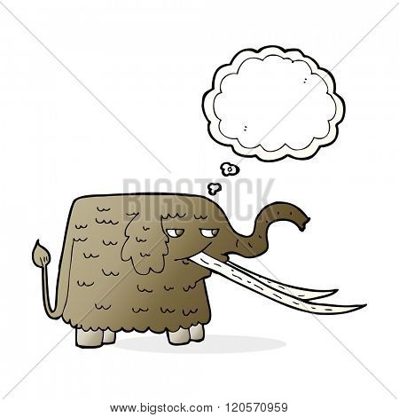 cartoon woolly mammoth with thought bubble