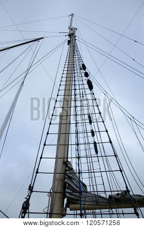 Ships Mast Rising Up Against The Sky