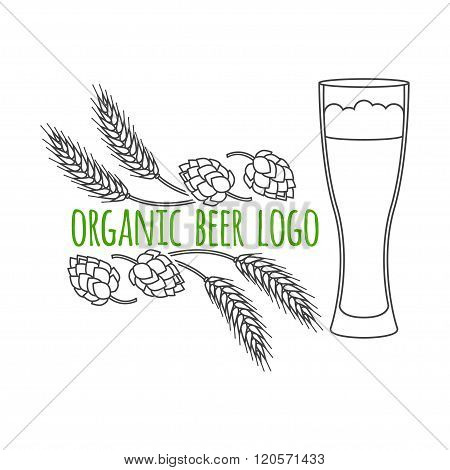 Modern Line Style Logo, Branding,  Logotype,  Badge  With Spikes Of Wheat, Hop And A Glass Of Beer.