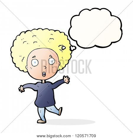cartoon startled person with thought bubble