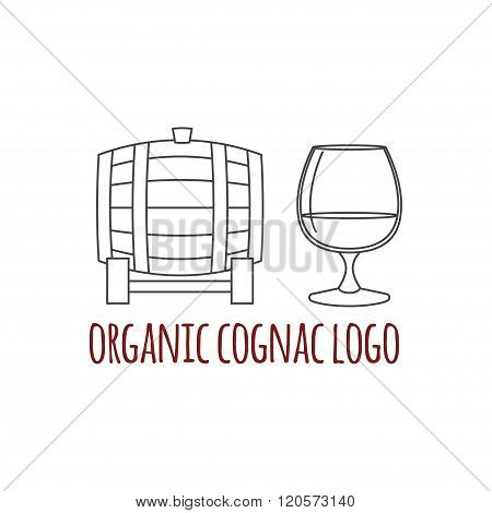Modern Line Style Logo, Branding,  Logotype,  Badge  With Brandy Barrel And A Glass Of Cognac.  Dist
