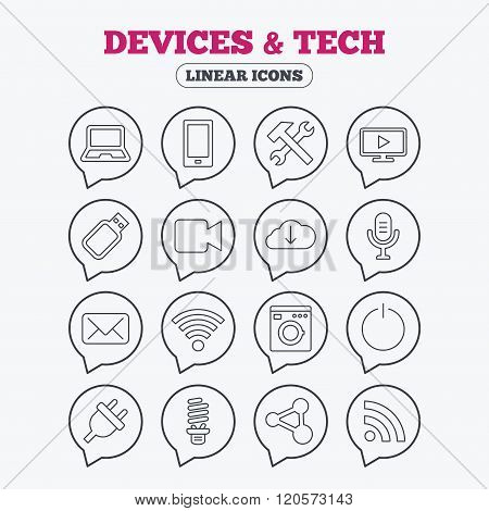 Devices and technologies icons. Usb, wi-fi.