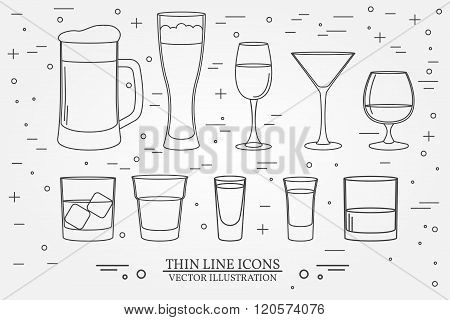 Glasses For Alcoholic Drinks. Beverage, Cocktail, Drinks Vector Thin Line Symbol Icon. Beer, Wine, C