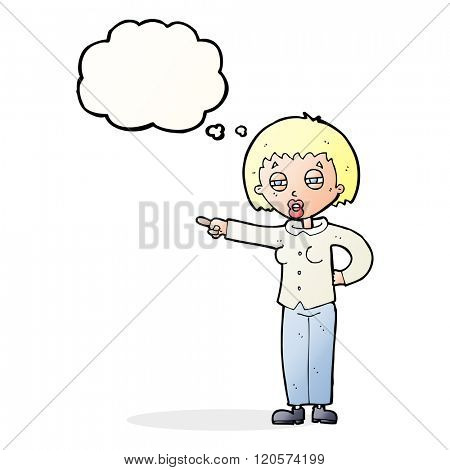 cartoon woman telling off with thought bubble