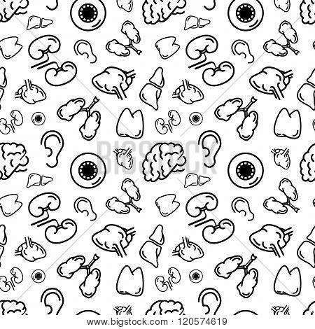 Black outline human internal organs on white seamless pattern
