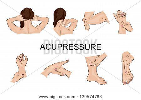 illustration of the techniques of acupressure. Oriental medicine
