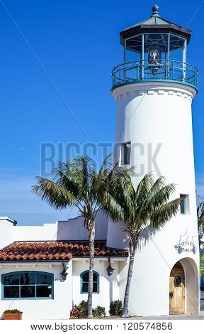 Santa Barbara, U.S.A. - June 1, 2011: An old beacon on the sea front.